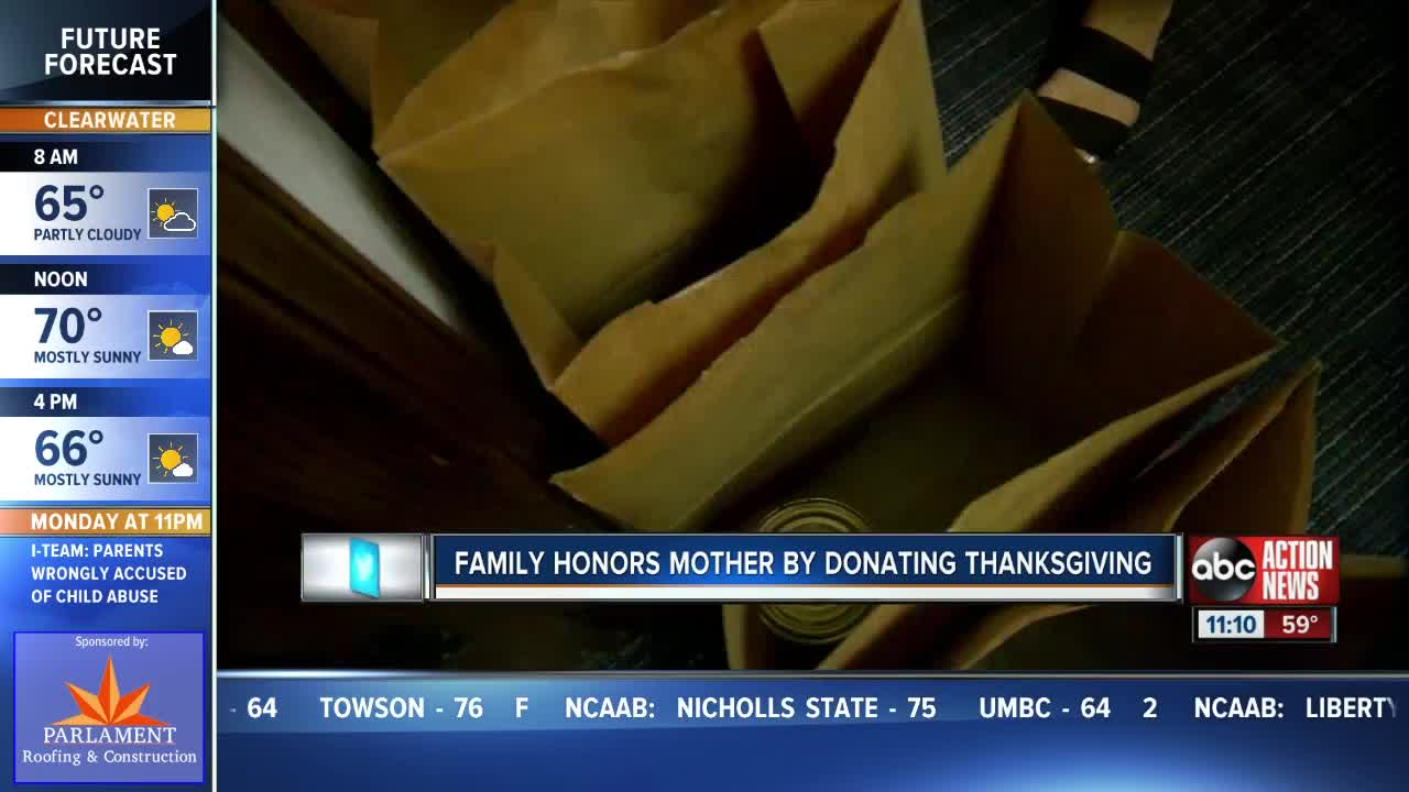Family honors mother by donating Thanksgiving meal