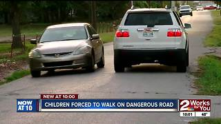 Kids forced to walk on dangerous road