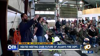 Heated and emotional meeting over future of Julian's volunteer fire department - Video