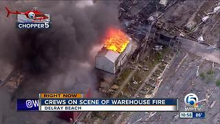 Fire engulfs nursery packing house in West Delray Beach - Video