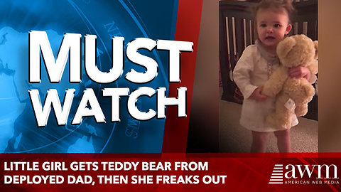 Little Girl Gets Teddy Bear From Deployed Dad, then she freaks out
