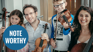 Young musician who is deaf and partially sighted plays both violin and piano - Video