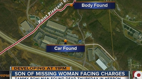 Son of missing woman found dead faces charges