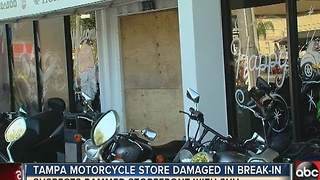 SUV rammed into front of Tampa motorcycle shop in theft attempt - Video