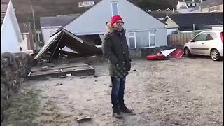 Storm Eleanor causes huge section of Cornish harbour wall to collapse - Video