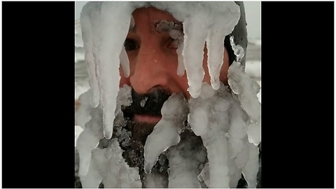 Notorious Surfer Grows Ice-Beard For Catching Waves At Frigid Temperatures