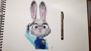 Realistic pixel speed drawing of Judy Hopps from 'Zootopia' - Video
