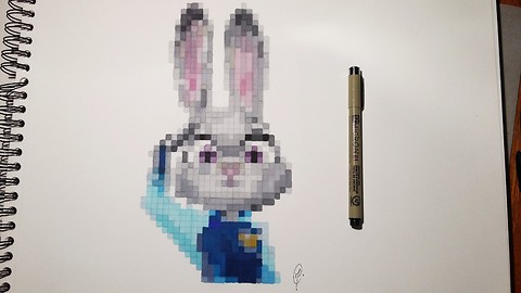 Realistic pixel speed drawing of Judy Hopps from 'Zootopia'