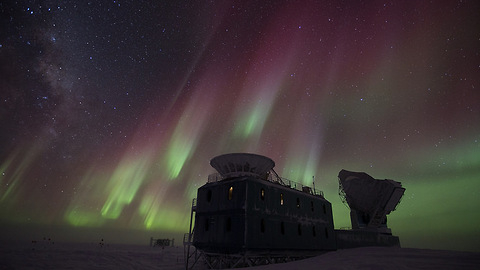 Aurora Australis captured over South Pole Station, Antarctica