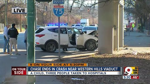 Chase ends in crash near viaduct