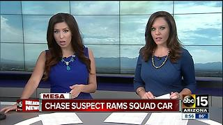 Police searching for man who rammed vehicle into Mesa police car - Video
