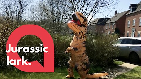 Wacky mum cheers her neighbours up by doing daily exercise in dinosaur outfit