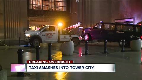 Taxi van smashes into front doors of Tower City overnight