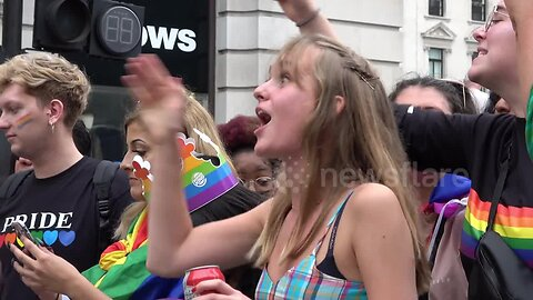 Women 'moons' homophobic religious protesters during London Pride 2019