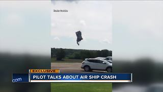 Pilot talks about air ship crash near U.S. Open - Video
