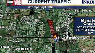 I-75 in Bradenton shut down due to overturned tanker - Video