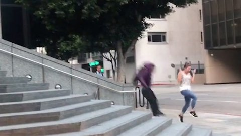 Hilarious moment jogger gets in the way of a skater