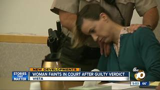 Woman faints in court after guilty verdict - Video