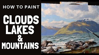 How to Paint CLOUDS, LAKES & MOUNTAINS - Tips For Mixings Colours