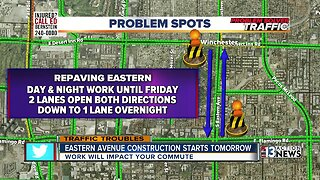 Eastern Ave repaving project starts Sunday night