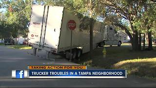 Tampa homeowners fed up with truckers cutting through their neighborhood