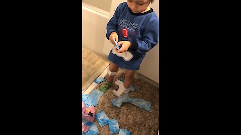 This kid confuses sanitary napkins for actual band-aids!