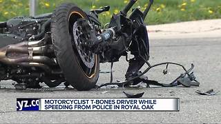 Motorcyclist t-bones driver while speeding from Royal Oak police