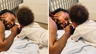 "Sweet baby preciously says ""I love you"" to his daddy"