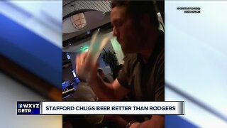 Matthew Stafford chugs beer better than Aaron Rodgers