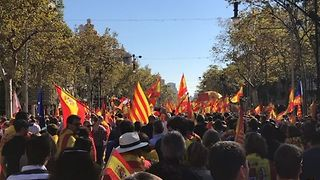 Pro-Spanish Unity Supporters March Through Barcelona - Video