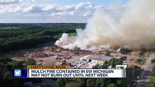 Mulch fire in Michigan continues to burn