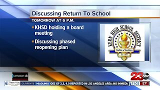 KHSD to discuss phased reopening tomorrow