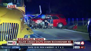 Drivers injured in school bus collision with vehicle - Video