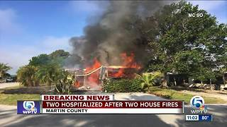 Two people hospitalized by fire in Martin County - Video