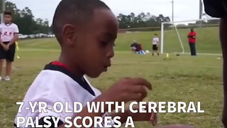 7-Yr-Old With Cerebral Palsy Scores A Touchdown In Flag Football League