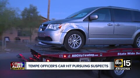 Tempe officer's car hit pursuing suspects