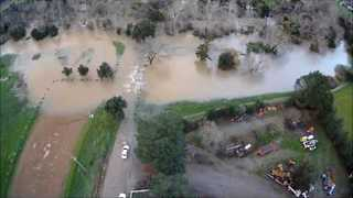 Valley Surrounding Coyote Creek Flooded, Leading to Evacuation of 14,000 Homes - Video