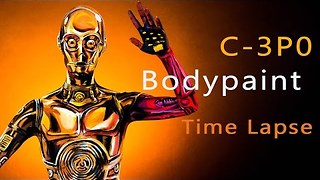 Model Transforms Herself Into C-3PO Using Bodypaint - Video