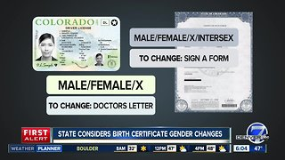 State considers birth certificate gender changes