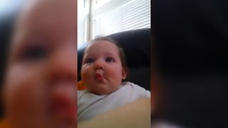 Baby Makes Adorable Fish Face - Video