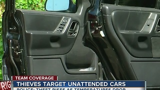 Thieves target unattneded cars as temperatures start to get cold - Video