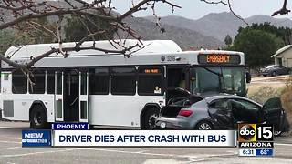 Driver dies after crash involving a bus in south Phoenix - Video