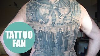 Peaky Blinder superfan gets back covered in tattoo devoted to the hit BBC gangster show - Video