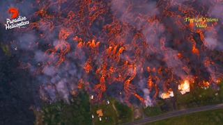 Aerial Footage Shows Lava from Kilauea Ripping Through Lower Leilani - Video