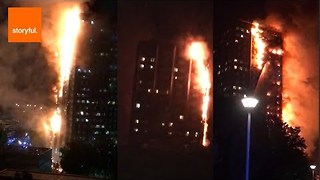 Huge Fire Engulfs London High-Rise Building - Video