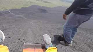 Thrill Seeker Goes Sledding Down Volcano Cerro Negro - Video