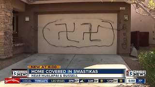 Home covered in swastikas