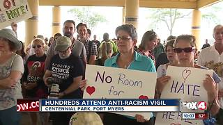 Hundreds fight hate at anti-racism vigil - Video