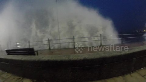 Strong winds and waves hit Cornish coast
