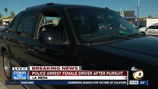 Female driver arrested after chase - Video